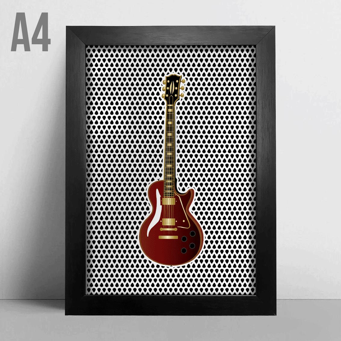 Quadro A4 - Guitarra Vermelha