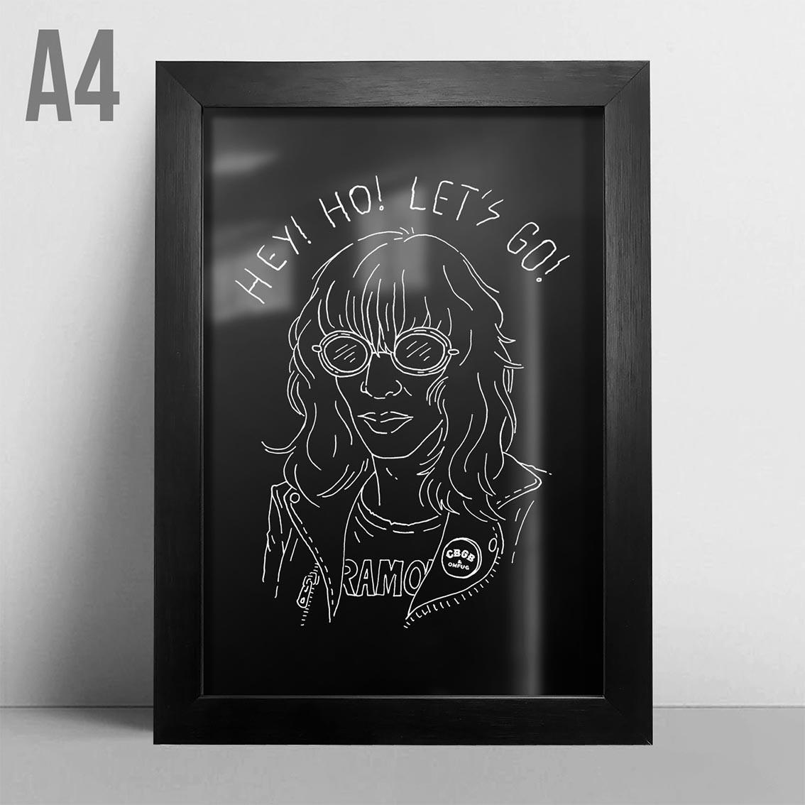 Quadro A4 - Joey Ramone PT
