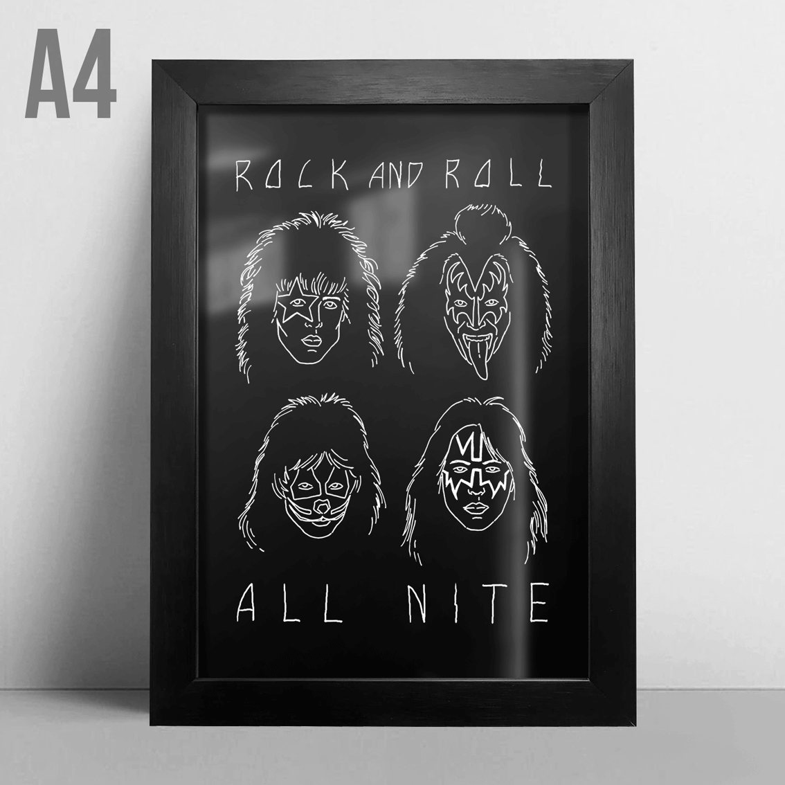 Quadro A4 - Kiss Rock'N Roll All Nite