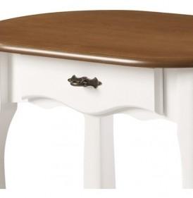 Aparador Oval em Madeira Maciça 1034 Linz Móveis com 1 Gaveta e Prateleira - Laca Branca/Imbuia Glazer