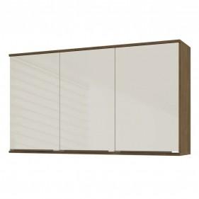 Armário Aéreo Cozinha Áustria 2802 120cm 3 Porta com Vidro Casamia - Dark/Off White