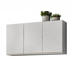 Armário Aéreo de Cozinha 3 Portas Classic Fiorello Home - Branco Elegance