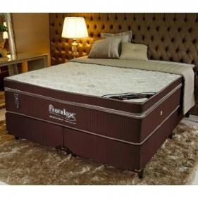 Cama Box Queen Size (Box + Colchão) Prorelax Mediterrâneo 158x198 Molas Ensacadas Euro Pillow - Marrom