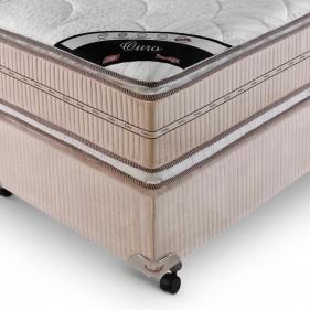 Cama Box Queen Size (Box + Colchão) Prorelax Ouro 158x198 Molas Ensacadas Pillow Top Viscoelástico