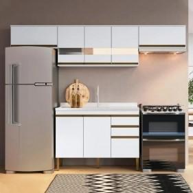 Cozinha Compacta Casablanca A3498 Casamia 4 Peças 9 Portas e 2 Gavetas - Branco Acetinado