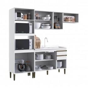 Cozinha Compacta Casablanca A3499 Casamia 4 Peças 11 Portas e 2 Gavetas - Branco Acetinado