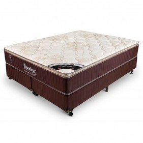 Cama Box Queen Size (Box + Colchão) Prorelax Brilhante 158x198 Molas Ensacadas Pillow Top Turn Free - Marrom