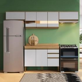 Cozinha Compacta Casablanca A3490 Casamia 5 Peças 9 Portas e 2 Gavetas - Mel/Off White