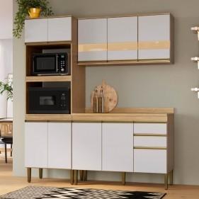 Cozinha Compacta Casablanca A3491 Casamia 4 Peças 10 Portas e 2 Gavetas - Mel/Off White