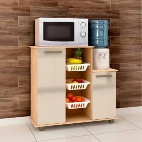 Fruteira para Cozinha Multiuso com 2 Portas 3 Cestos Veneza Mapi Móveis - Amêndoa/Avelã
