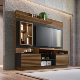 Home Eldorado com LED e Cristaleira para TV até 65'' Linea Brasil Avelã/Preto