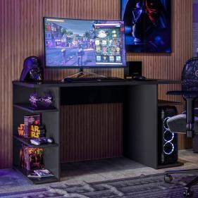 Mesa para Computador / Gamer Master com 3 Prateleiras Fiorello Home - Preto