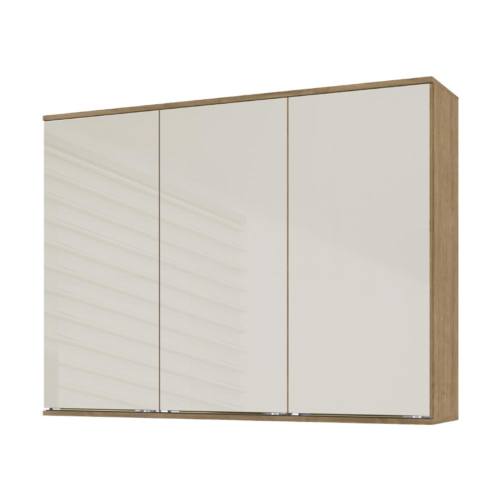 Armário Aéreo Cozinha 120cm Dubai Casamia 2902 3 Porta com Vidro - Nogueira/Off White