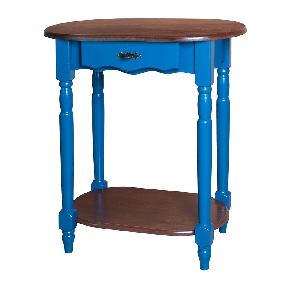 c9a67217d Aparador Oval com Pés Torneados 1 Gaveta - Laca Azul Bic Imbuia Glazer