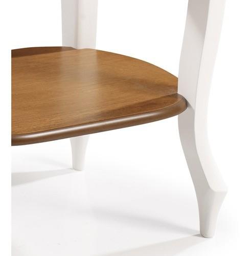 Aparador Oval em Madeira Maciça com 1 Gaveta e Prateleira 1034 - Laca Branca/Imbuia Glazer