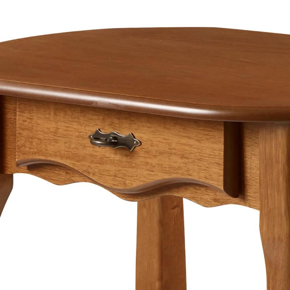 Aparador Oval em Madeira Maciça 1034 Linz Móveis com 1 Gaveta e Prateleira - Imbuia Glazer