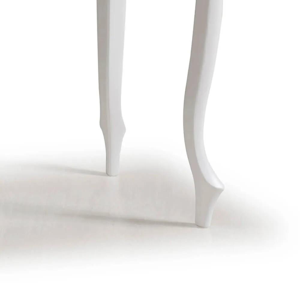 Aparador para Sala com Pés Luiz XV em Madeira 1 Gaveta 1019 - Laca Branca/Imbuia Glazer