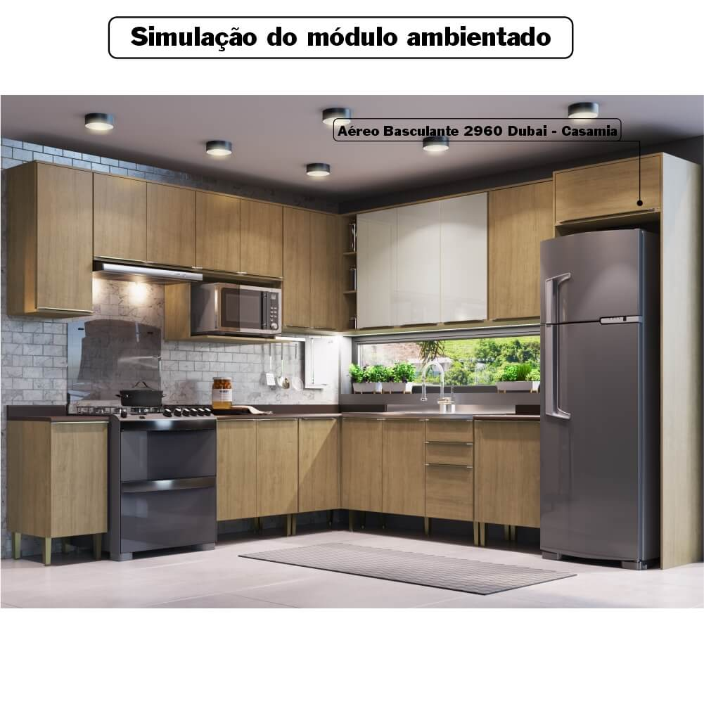 Armário Aéreo Cozinha 60cm com 1 Porta Basculante Dubai Casamia 2960 - Nogueira