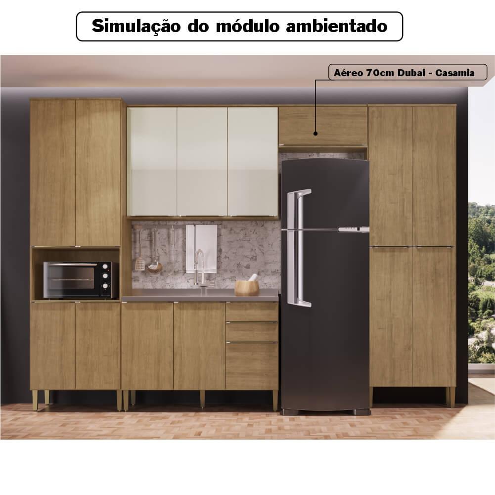 Armário Aéreo Cozinha 70cm com 1 Porta Basculante Dubai Casamia 2635 - Nogueira