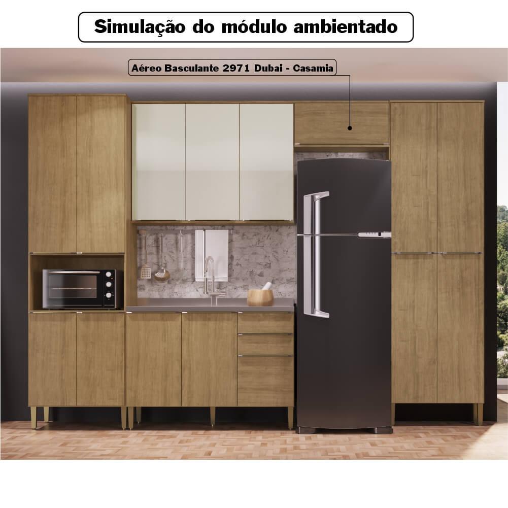 Armário Aéreo Cozinha 80cm com 1 Porta Basculante Dubai 2971 Casamia - Nogueira