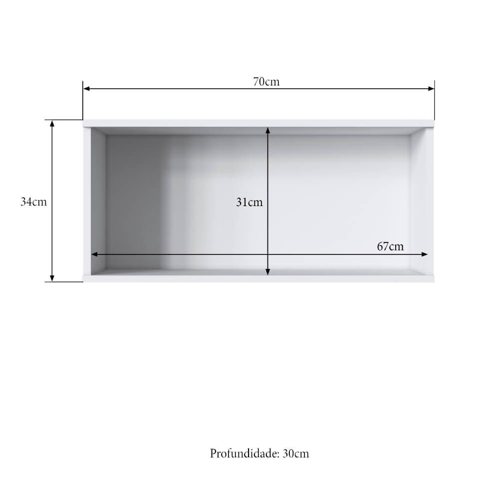 Armário Aéreo Cozinha Casablanca 3470 Casamia 70 Cm com 1 Porta Basculante - Branco Acetinado