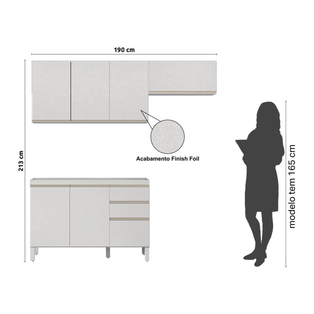 Armário de Cozinha 7 Portas 2 Gavetas Classic Fiorello Home - Branco Elegance