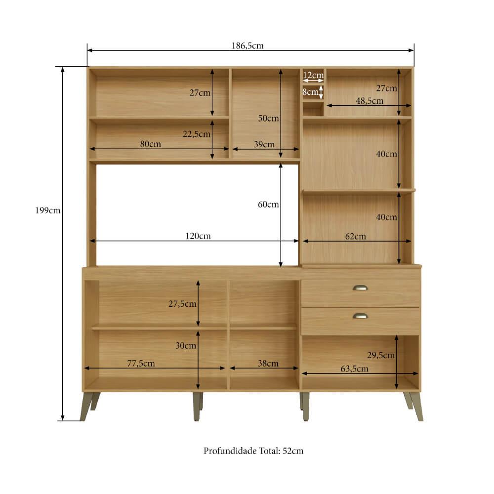 Armário de Cozinha Completo Donna Casamia com 8 Portas 2 Gavetas Espaços Forno e Micro-ondas Louro Freijo/Off White