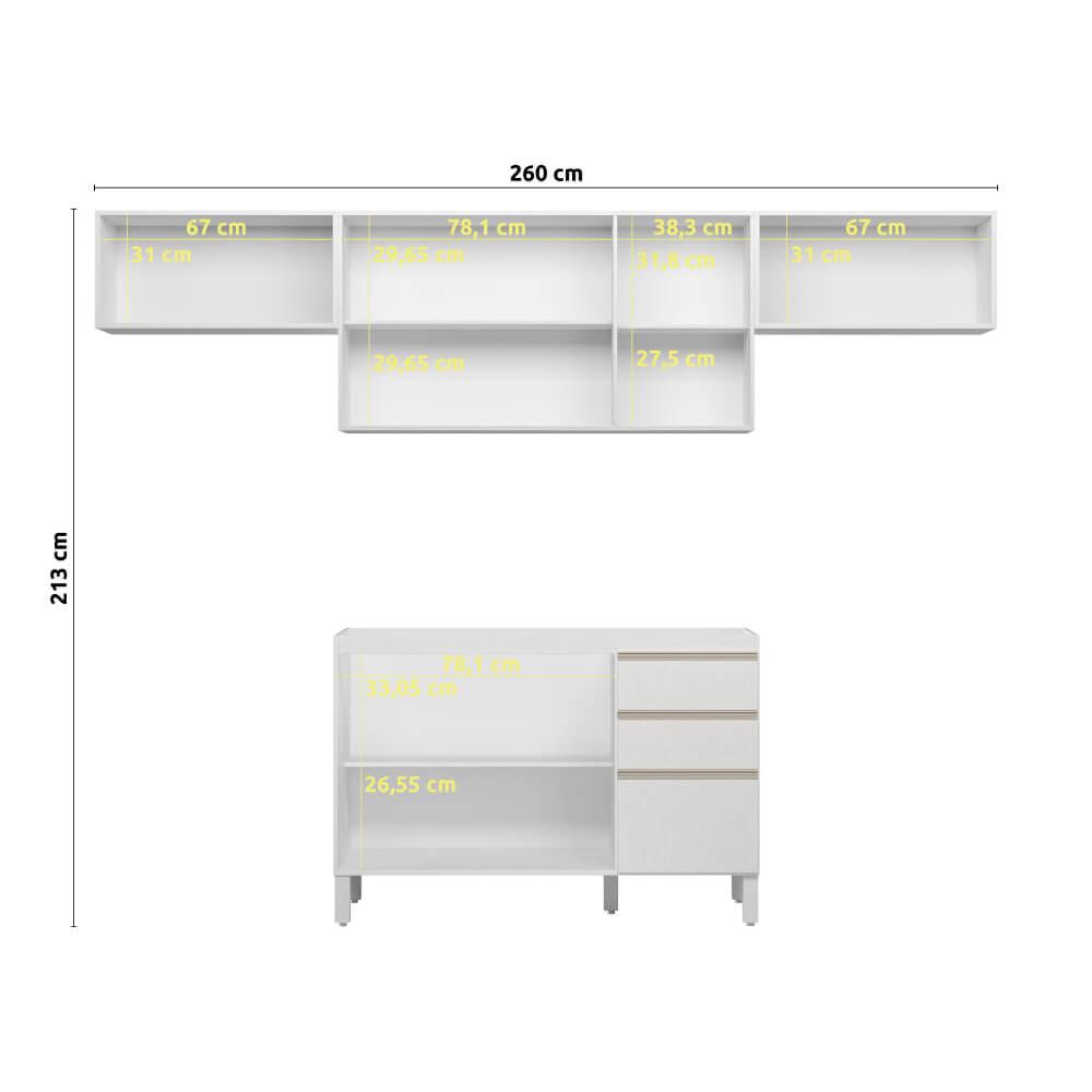 Armário de Cozinha 8 Portas 2 Gavetas Classic Fiorello Home - Branco Elegance