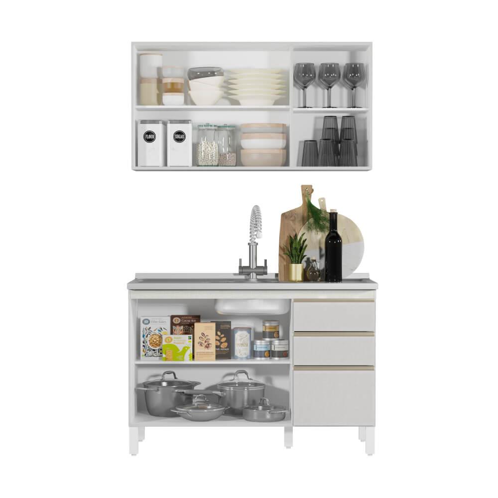 Armário de Cozinha 6 Portas 2 Gavetas Classic Fiorello Home - Branco Elegance