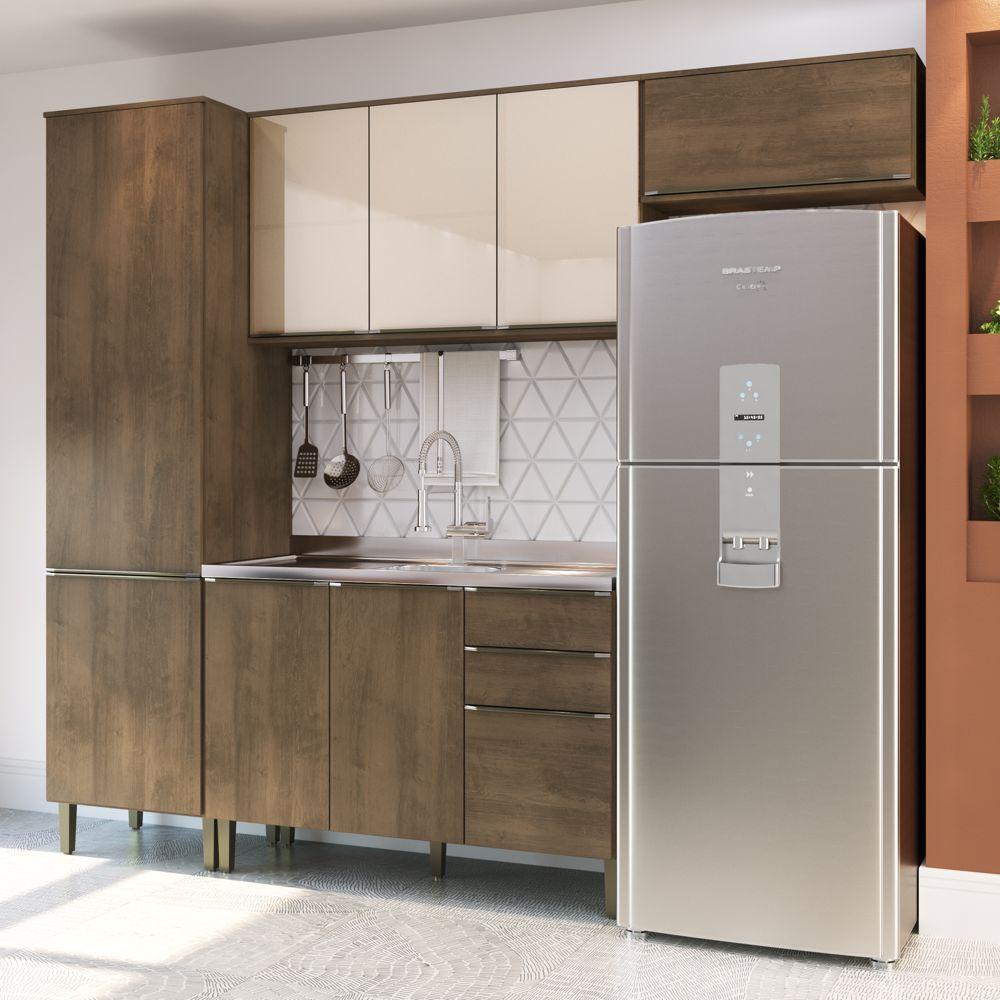 Cozinha Compacta Áustria Casamia A2895 4 Peças Dark/Trufa