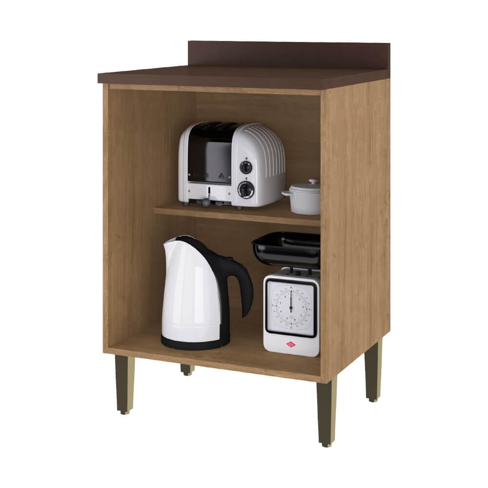 Balcão de Cozinha 60cm com Tampo 1 Porta Dubai 2936 Casamia - Nogueira