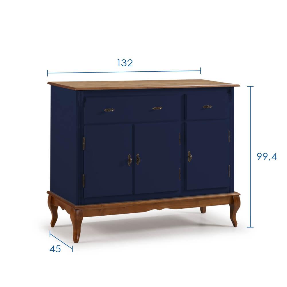 Balcão Buffet com Pés Luis XV 3 Portas e 2 Gavetas 60631 Linz Móveis - Azul Petróleo/Imbuia Glazer