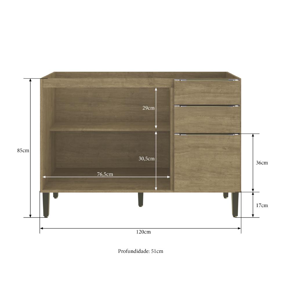 Balcão de Cozinha 120cm Dubai Casamia 2907 com 2 Portas 3 Gavetas - Nogueira
