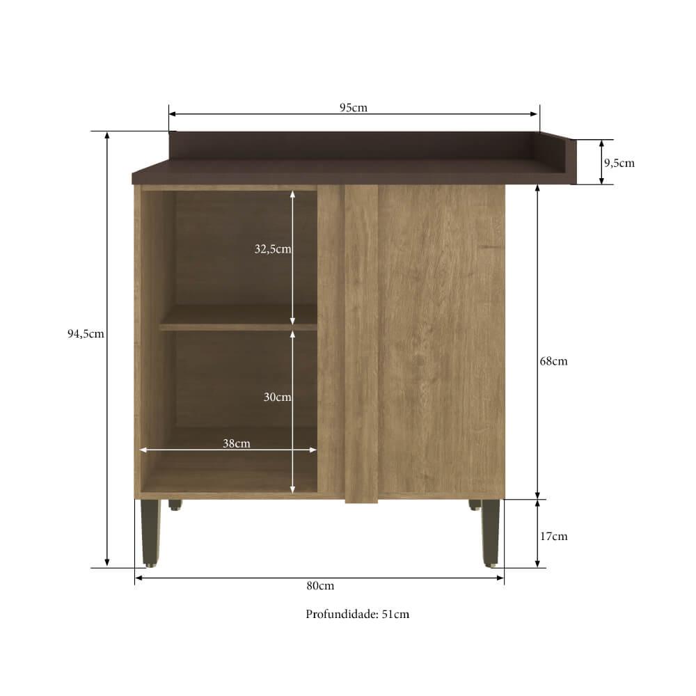 Balcão de Cozinha Canto Reto com Tampo 1 Porta Dubai 2904 Casamia - Nogueira