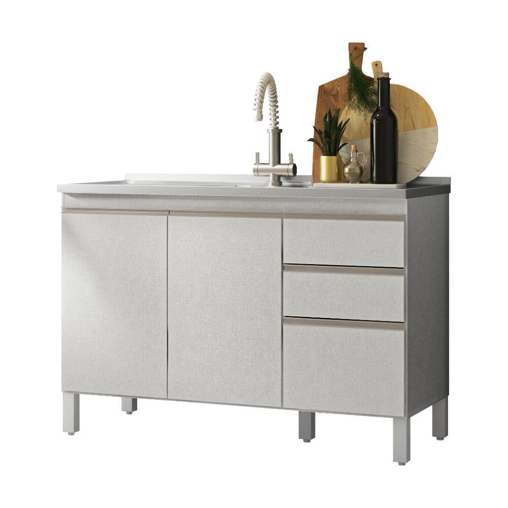 Balcão de Cozinha 3 Portas 2 Gavetas Classic Fiorello Home - Branco Elegance