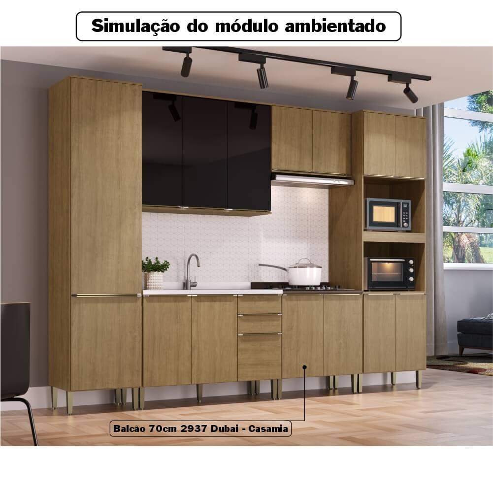 Balcão de Cozinha 70cm com Tampo 2 Portas Dubai 2937 Casamia - Nogueira