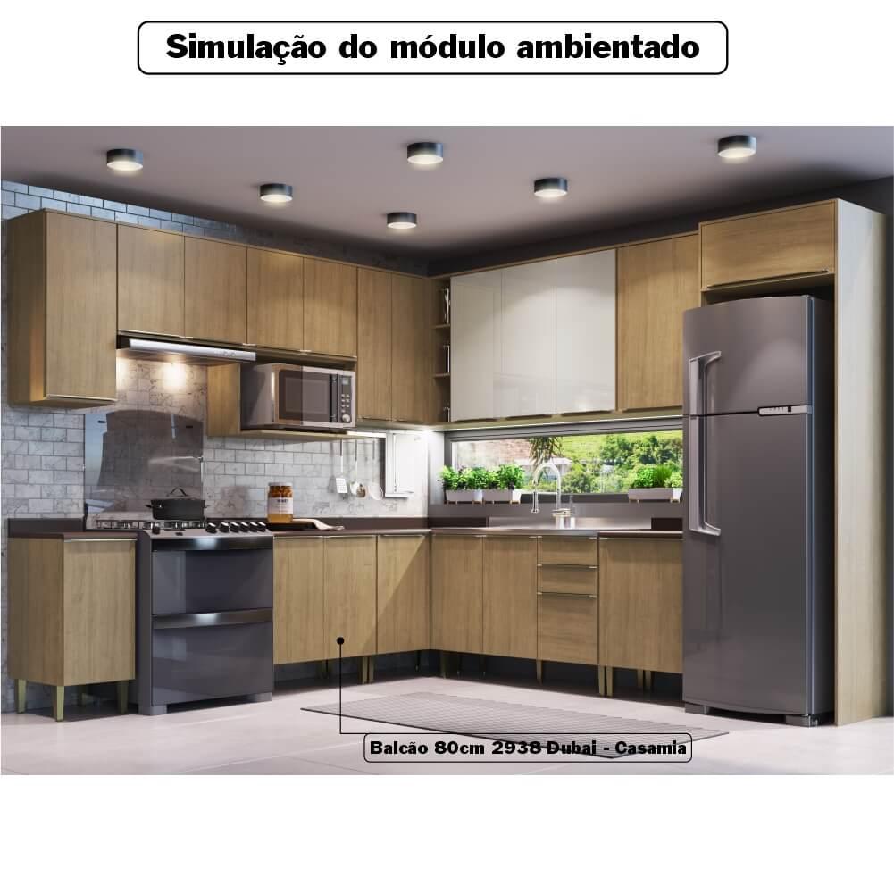 Balcão de Cozinha 80cm 2 Portas com Tampo Dubai 2938 Casamia - Nogueira