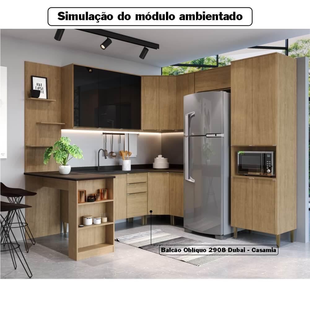 Balcão de Cozinha Canto Oblíquo com Tampo 1 Porta Dubai 2908 Casamia - Nogueira