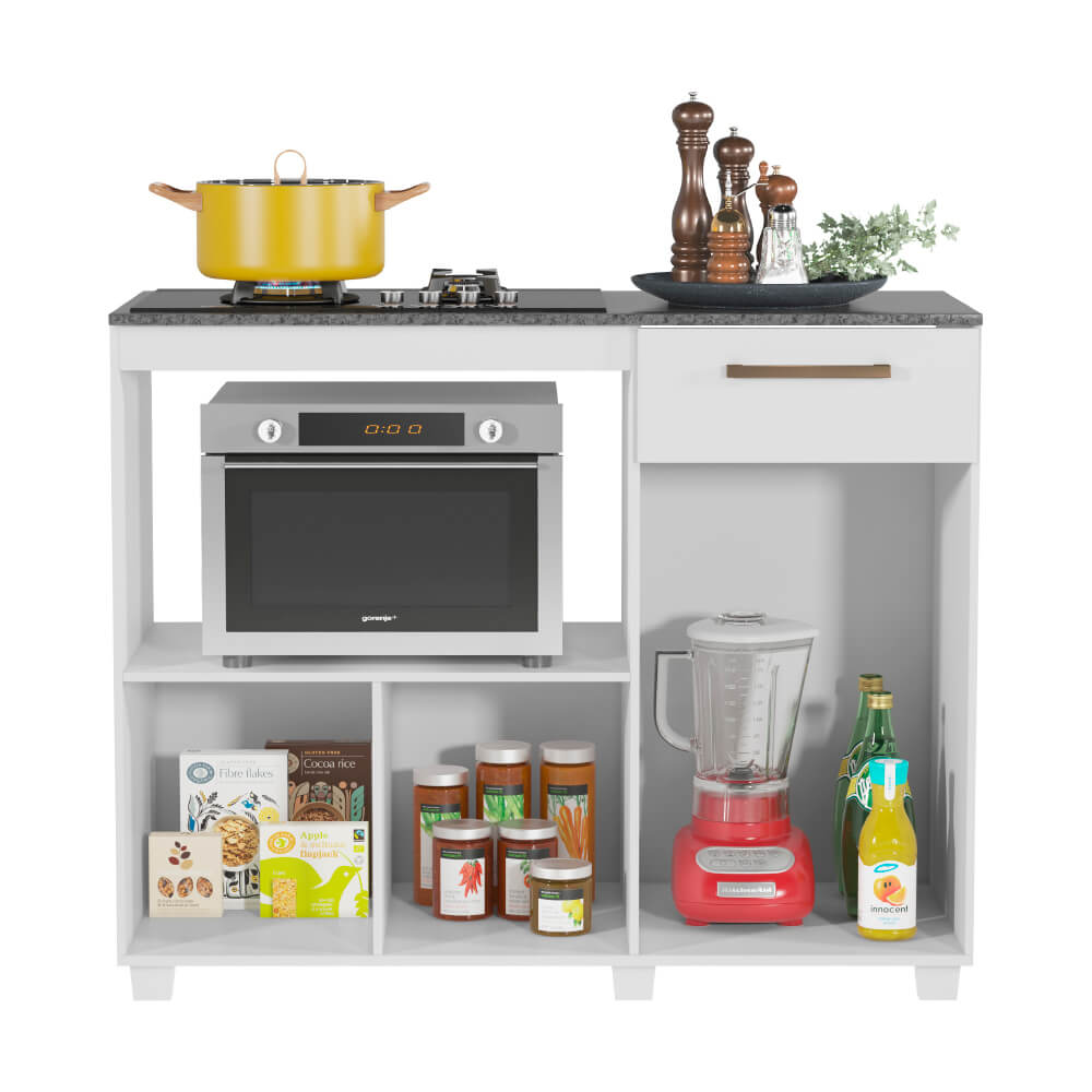 Balcão de Cozinha para Cooktop 2 Portas 1 Gaveta Gold Fiorello Home - Branco Elegance