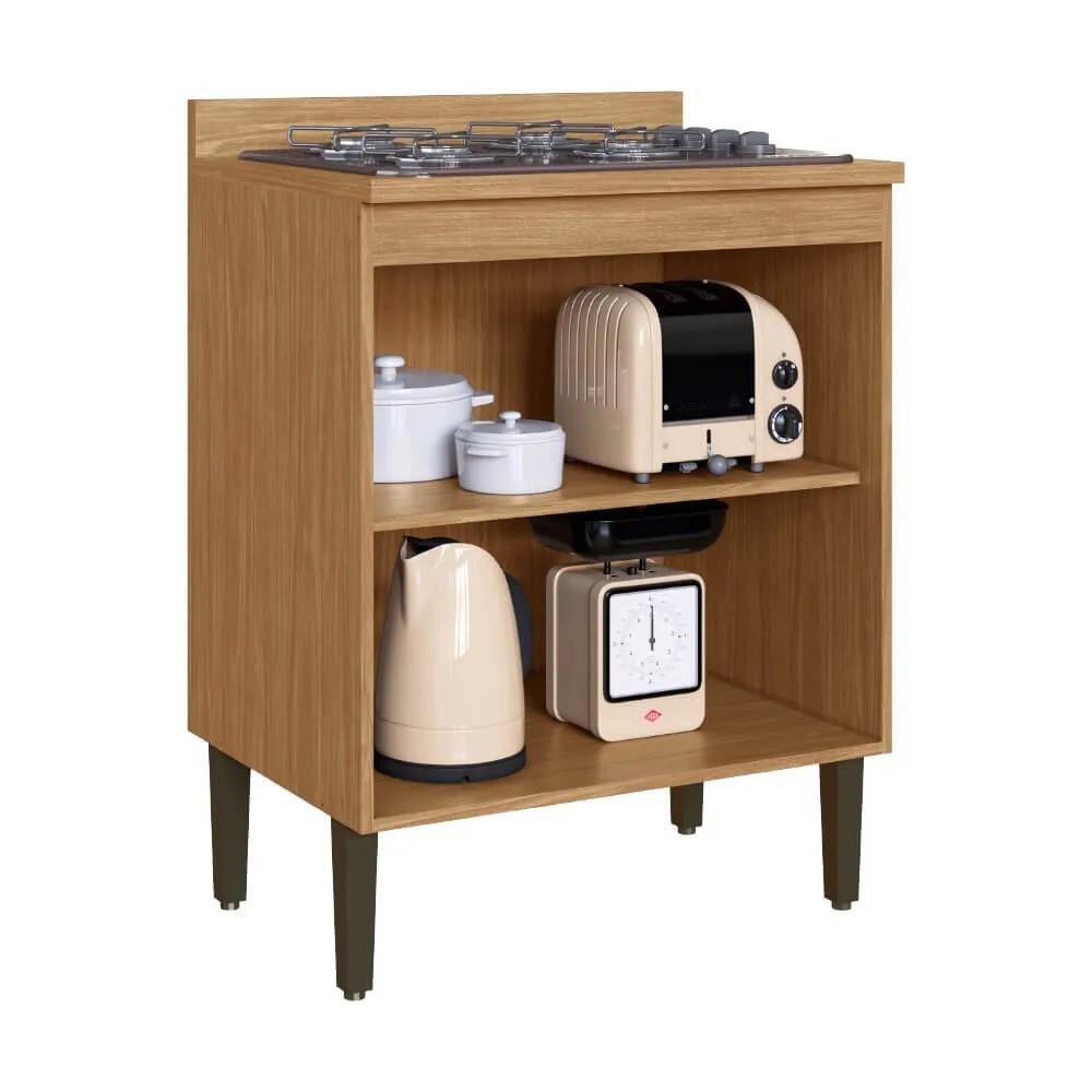 Balcão de Cozinha Casablanca 3437 Casamia 70 Cm com Tampo e 2 Portas - Mel/Off White