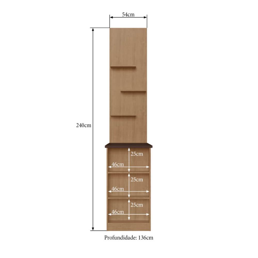 Bancada de Cozinha com Painéis e Nichos Dubai/Áustria 2931 Casamia - Nogueira