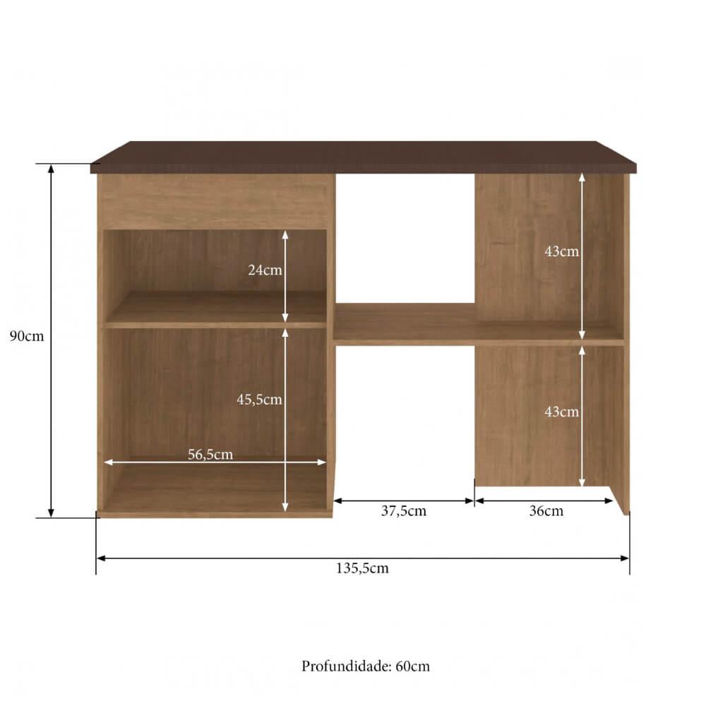 Bancada Cozinha Áustria 2830 com 2 Porta Casamia - Nogueira/Trufa