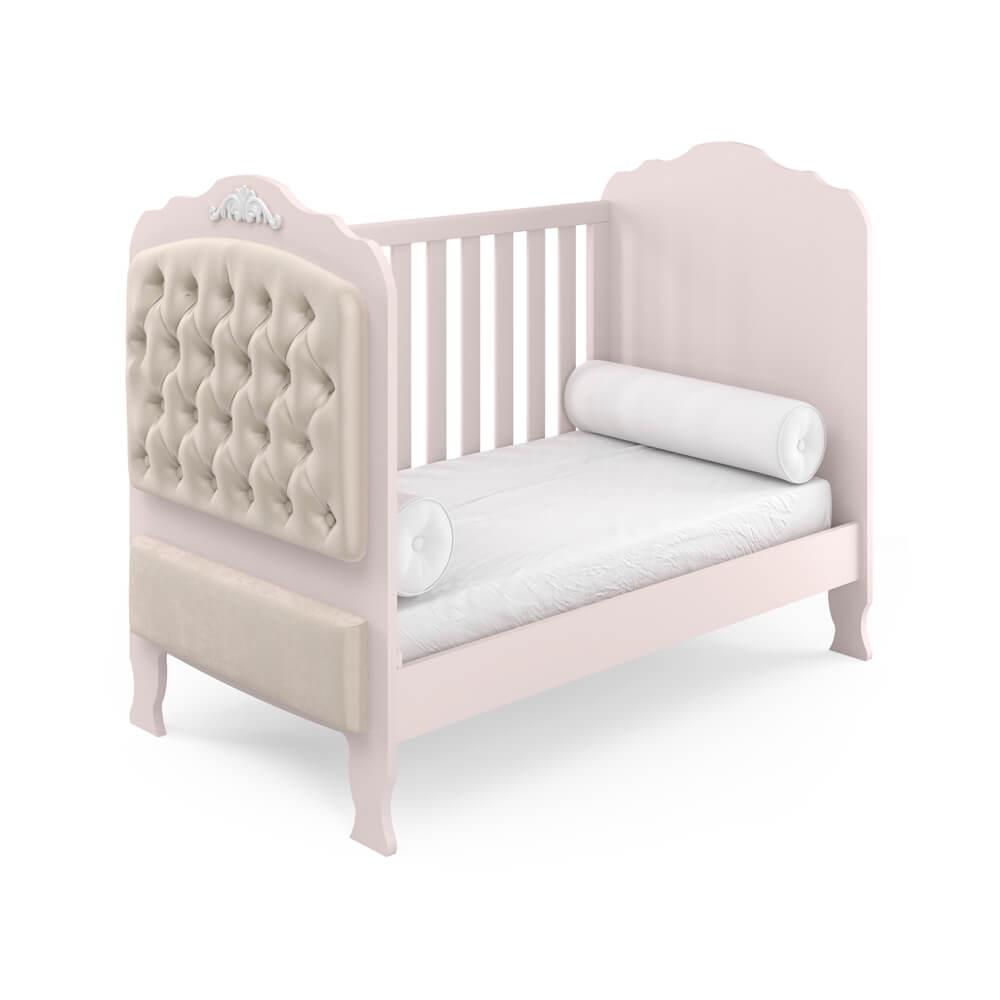 Berço Americano Mini Cama Sonhare Móveis Fiorello com Capitonê  - Rose Quartz