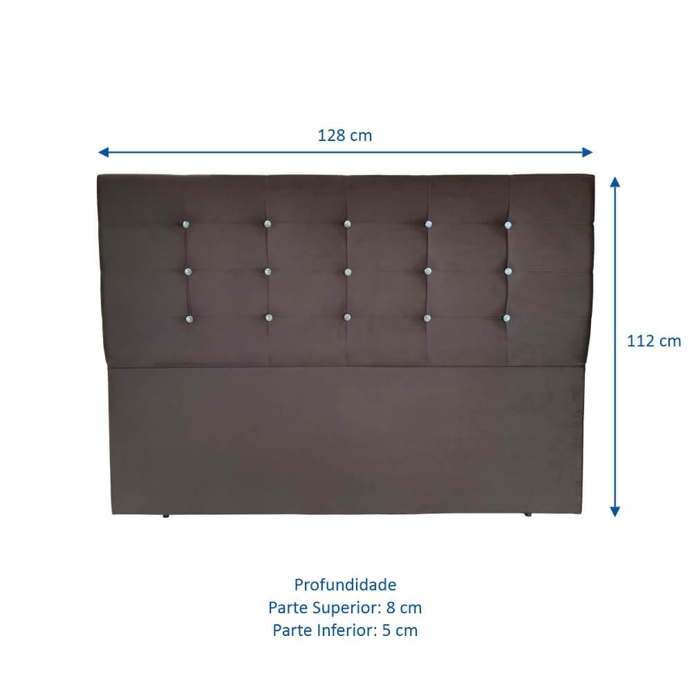 Cabeceira Estofada Casal Nora 130cm Nova Opção com Botão Cristal - Veludo Marrom