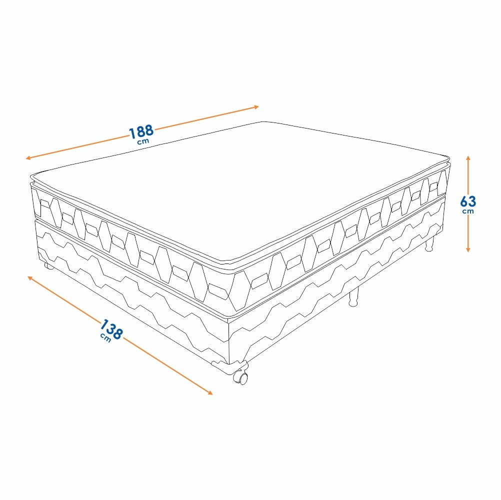 Cama Box Casal (Box + Colchão) Prorelax Bali 128x188 Molas Ensacadas Pillow Top Turn Free - Bege