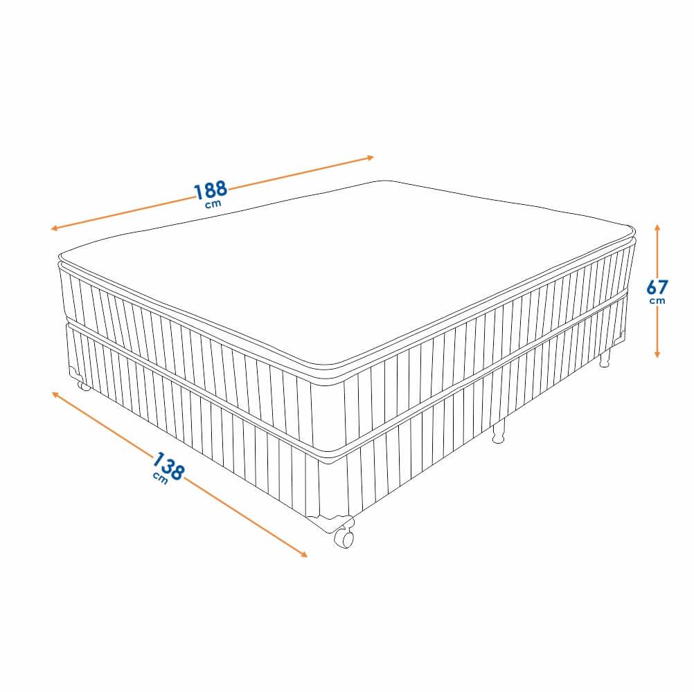 Cama Box Casal (Box + Colchão) Prorelax Brilhante 128x188 Molas Ensacadas Pillow Top Turn Free - Marrom