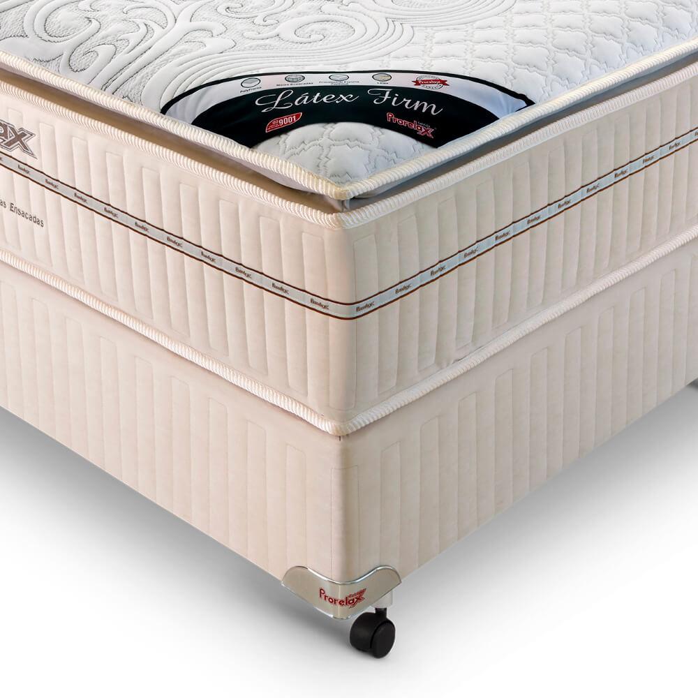 Cama Box Casal (Box + Colchão) Prorelax Látex Firm 138x188 Molas Ensacadas Pillow Turn Free