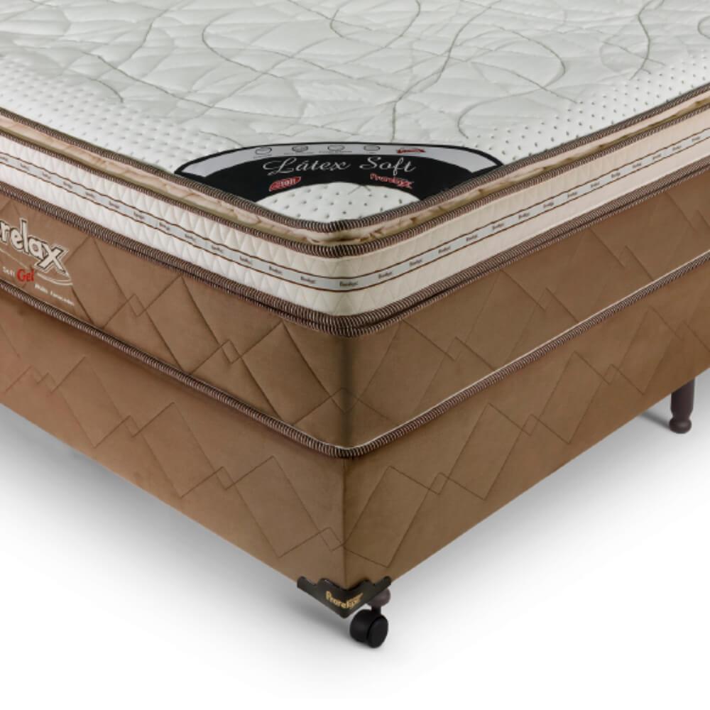 Cama Box Casal (Box + Colchão) Prorelax Látex Soft Gel 128x188 Euro Pillow + Pillow Top Látex