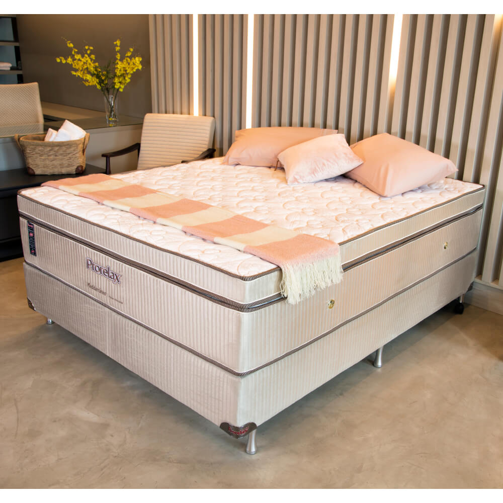 Cama Box Casal (Box + Colchão) Prorelax Mediterrâneo 128x188 Molas Ensacadas Euro Pillow Turn Free
