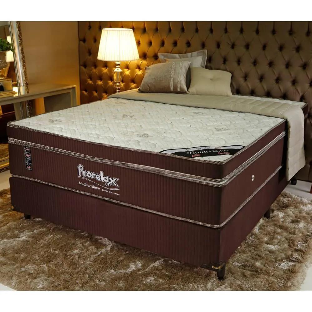 Cama Box Casal (Box + Colchão) Prorelax Mediterrâneo 138x188 Molas Ensacadas Euro Pillow - Marrom